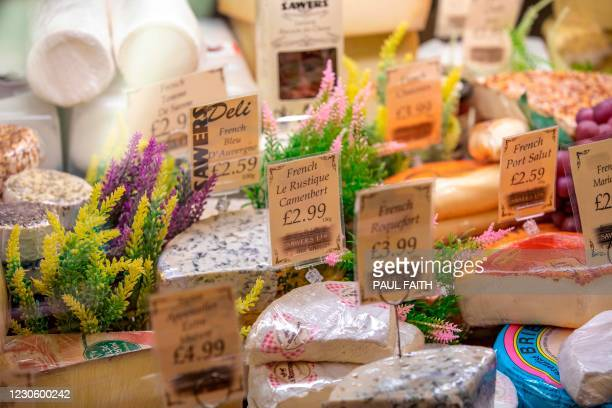 Range of Irish and French cheeses are seen on display in Sawers Deli in Belfast, Northern Ireland on January 15, 2021 as food shortages appear to be...