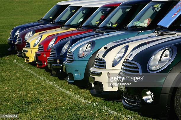 A range of Mini Coopers are seen on display during the 50 year celebration of the Mini in Australia at Harold Park Raceway on May 24 2009 in Sydney...