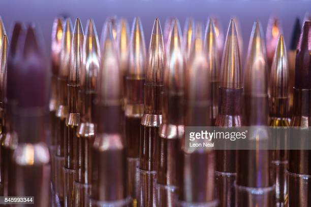 A range of rounds of ammunition by the 'Sniper Extreme' munitions company are displayed at the DSEI event at the ExCel centre on September 12 2017 in...