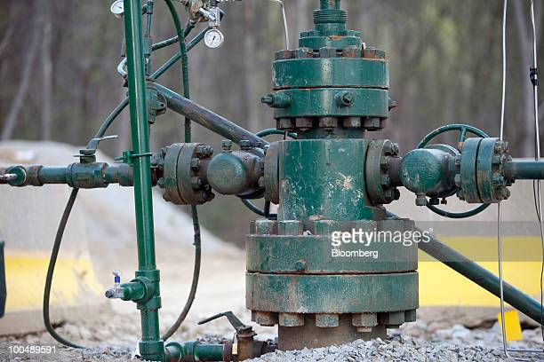 A Range Resources Inc natural gas wellhead sits on the farm of Ronald Gulla in Hickory Pennsylvania US on Thursday April 8 2010 Companies are...