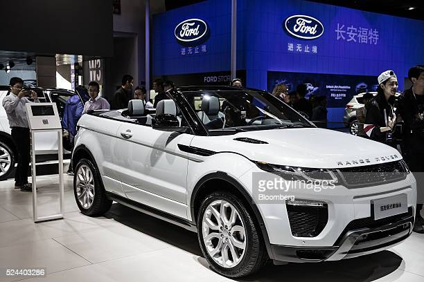 A Range Rover Evoque convertible sport utility vehicle produced by Tata Motors Ltd's Jaguar Land Rover unit stands on display at the Beijing...