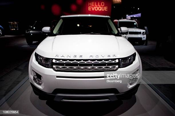 A Range Rover Evoque sport utility vehicle manufactured by Tata Motors Ltd's Jaguar Land Rover unit sits on display during the North American...
