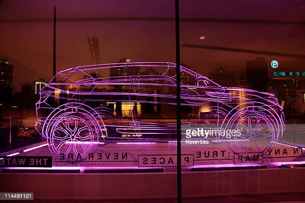 Range Rover Evoque wireframe stands outside the Waterhouse on May 21 2011 in Shanghai China
