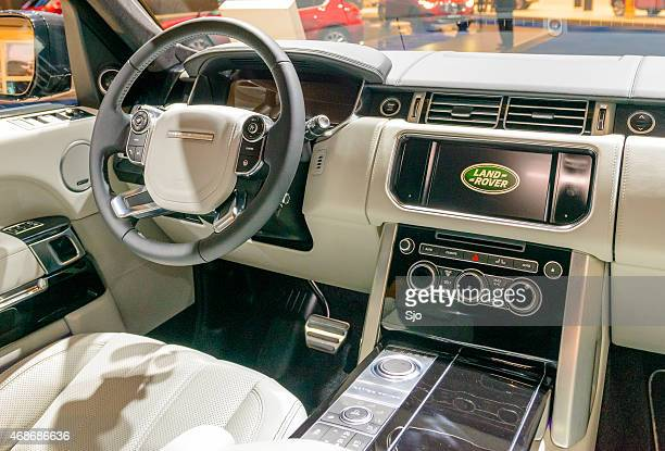 range rover luxury interior with leather and wood - land rover stock pictures, royalty-free photos & images