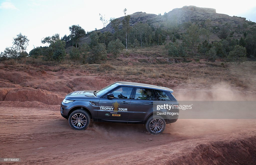 A Range Rover Sport tackles rough terrain during a visit to Antongona during the Rugby World Cup Trophy Tour in Madagascar in partnership with Land Rover and DHL ahead of Rugby World Cup 2015 on July 5, 2014 in Antananarivo, Madagascar.