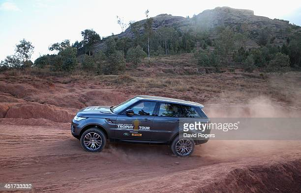 Range Rover Sport tackles rough terrain during a visit to Antongona during the Rugby World Cup Trophy Tour in Madagascar in partnership with Land...