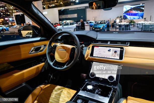 Range Rover Velar crossover luxury SUV interior on display at Brussels Expo on January 9 2020 in Brussels Belgium The Velar is available with...