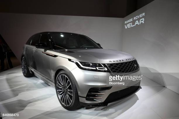 A Range Rover Velar sports utility vehicle manufactured by Jaguar Land Rover Automotive Plc stands during a launch event for the automobile at the...