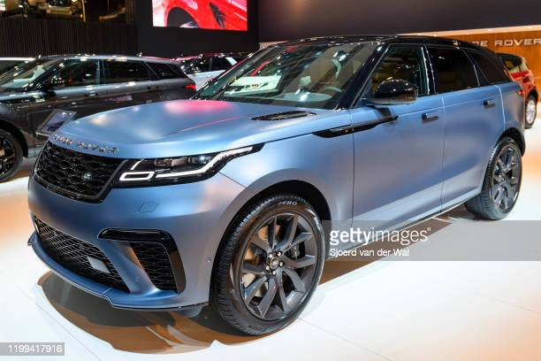Range Rover Velar SVAutobiography Dynamic Edition P550 crossover luxury SUV on display at Brussels Expo on January 9 2020 in Brussels Belgium The...