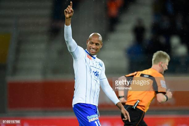 Rangela Janga forward of KAA Gent celebrates during the Jupiler Pro League match between KAA Gent and Sint Truidense VV at the Ghelamco Arena on...