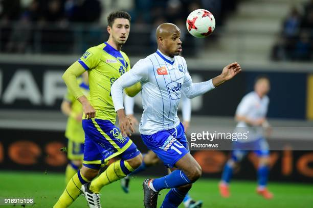 Rangela Janga forward of KAA Gent controls the ball during the Jupiler Pro League match between KAA Gent and Sint Truidense VV at the Ghelamco Arena...