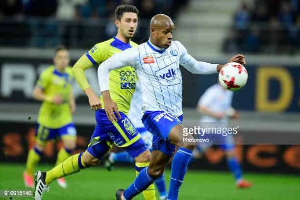 Rangela Janga forward of KAA Gent in action during the Jupiler Pro League match between KAA Gent and Sint Truidense VV at the Ghelamco Arena on...