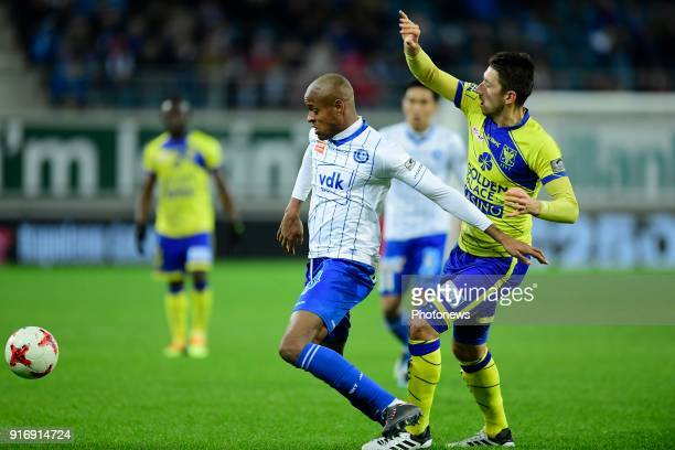 Rangela Janga forward of KAA Gent is challenged by Sasha Kotysch defender of STVV during the Jupiler Pro League match between KAA Gent and Sint...