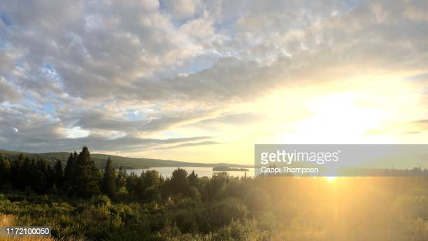 rangeley lake sunset in rangeley, maine usa - maine stock pictures, royalty-free photos & images