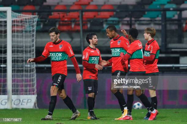 Rangelo Janga of NEC celebrates 1-1 with Javier Vet of NEC, Job Schuurman of NEC, Jonathan Okita of NEC during the Dutch KNVB Beker match between NEC...