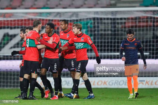 Rangelo Janga of NEC celebrates 1-1 with Javier Vet of NEC, Job Schuurman of NEC, Jonathan Okita of NEC, Rens van Eijden of NEC, during the Dutch...