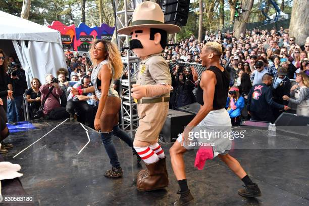 Ranger Dave and festivalgoers bounce onstage during Beignets Bounce at Gastro Magic stage during the 2017 Outside Lands Music And Arts Festival at...
