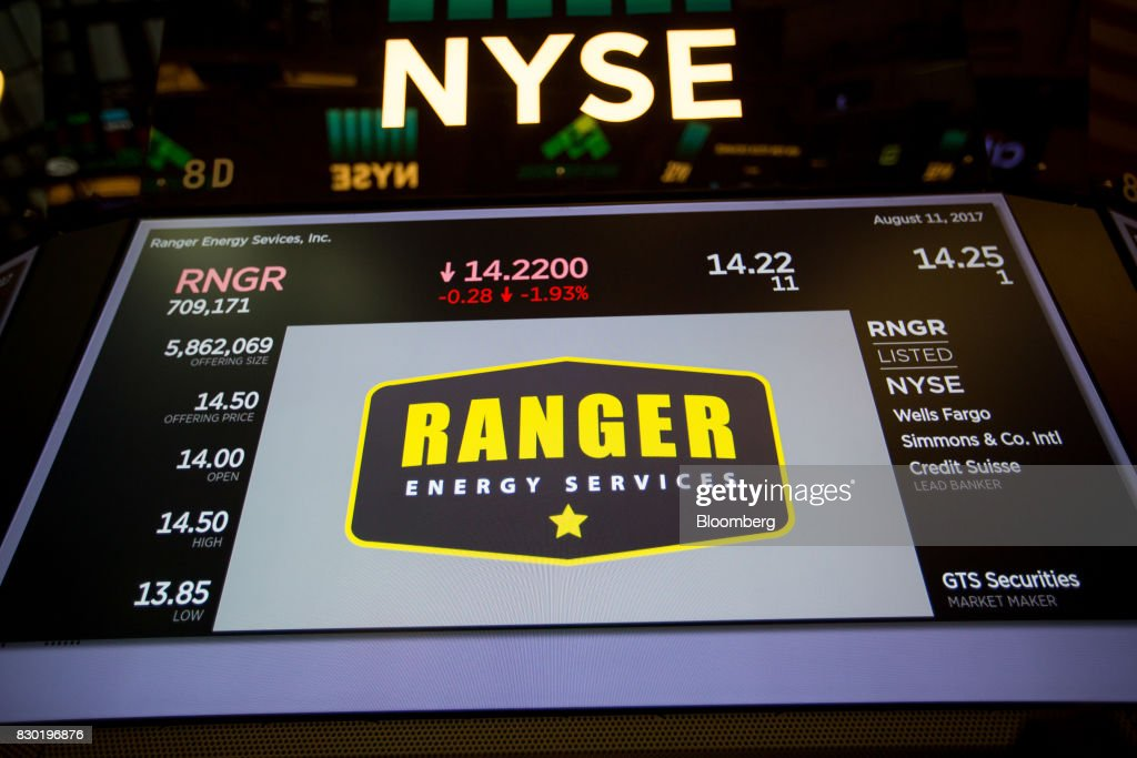 Ranger Energy Services Inc. signage is displayed on a monitor during the company's initial public offering (IPO) on the floor of the New York Stock Exchange (NYSE) in New York, U.S., on Friday, Aug. 11, 2017. U.S. stocks halted a three-day slide, volatility eased and Treasuries slipped as markets began to stabilize after a week of verbal sparring between the U.S. and North Korea. Photographer: Michael Nagle/Bloomberg via Getty Images