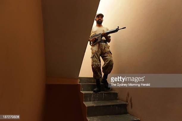 A ranger in the Pakistani military is on dury in the Qasba area of Karachi on August 11 2011 which is home to many Awami National Party supporters...