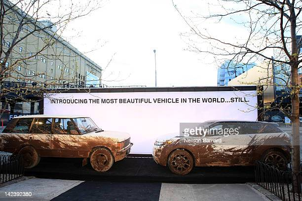 Ranger Rover Classic and 2012 Ranger Rover Evoque is shown on display at the 25th Anniversary event for Land Rover in the US on April 3 2012 in New...