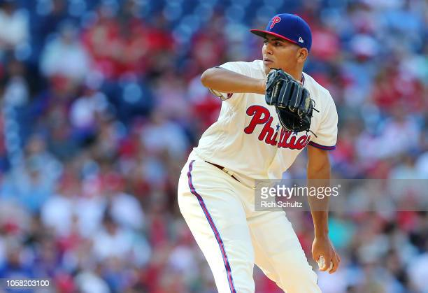 Ranger Suarez of the Philadelphia Phillies in action against the Atlanta Braves during of a game at Citizens Bank Park on September 30 2018 in...