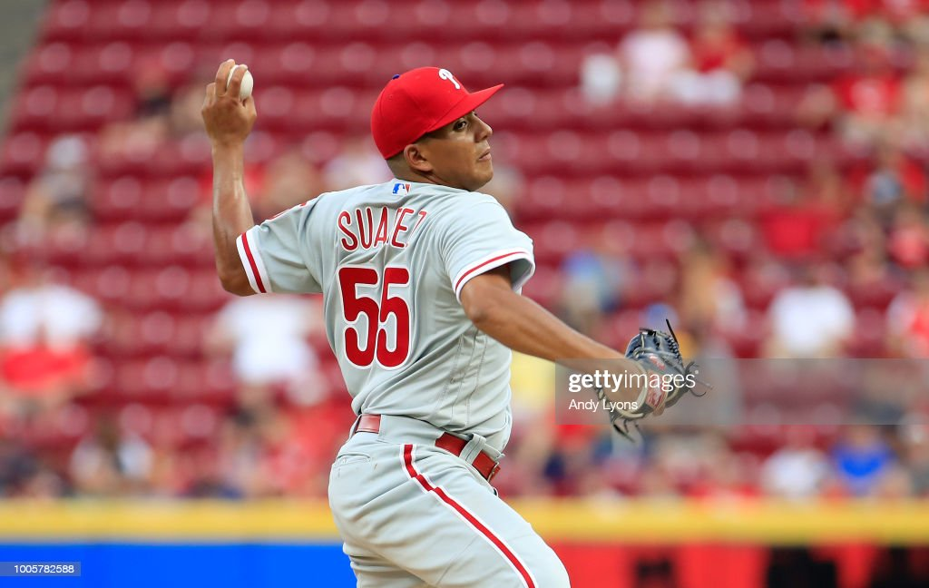 Ranger Suarez #55 of the Philadelphia Phillies throws a pitch against the Cincinnati Reds at Great American Ball Park on July 26, 2018 in Cincinnati, Ohio.