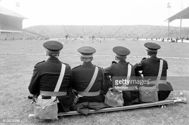Rangers 10 Aberdeen Scottish FA Cup match Ibrox Glasgow Scotland 6th March 1971 Face of Britain 1971 Feature St John Ambulance Volunteers watch the...