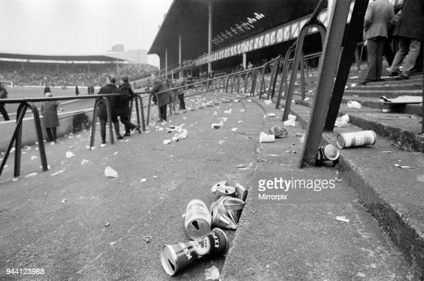 Rangers 10 Aberdeen Scottish FA Cup match Ibrox Glasgow Scotland 6th March 1971 Face of Britain 1971 Feature Litter on terraces after match