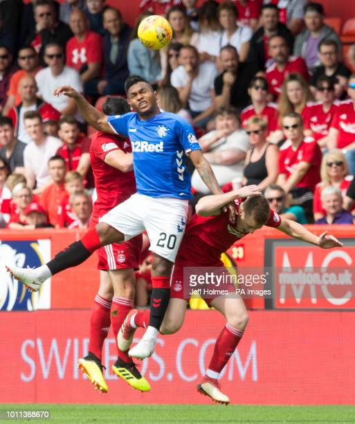 Rangers Alfredo Morelos and Aberdeen's Sam Cosgrove during the Scottish Ladbrokes Premiership match at Pittodrie Stadium Aberdeen
