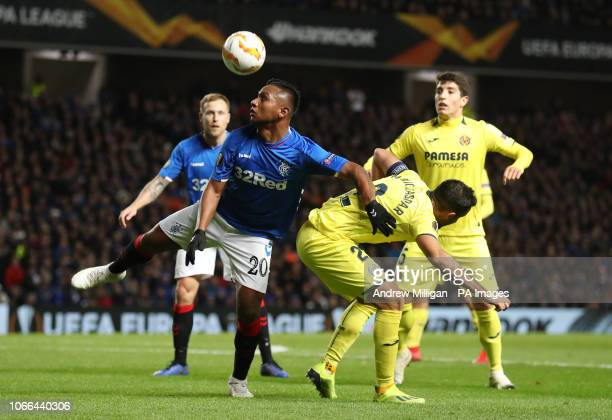 Rangers' Alfredo Morelos and Villarreal's Gaspar Mario battle for the ball during the UEFA Europa League Group G match at Ibrox Stadium Glasgow