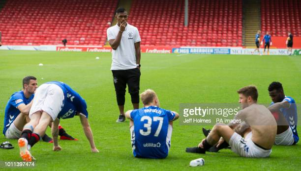 Rangers Alfredo Morelos apologies to team mates for his red card after the final whistle of the Scottish Ladbrokes Premiership match at Pittodrie...