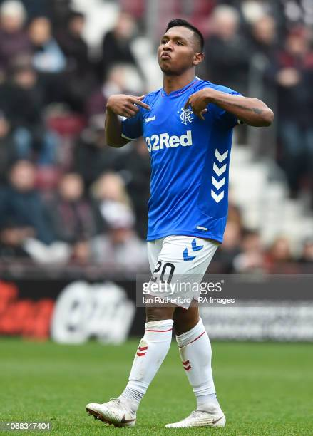 Rangers Alfredo Morelos celebrates after scoring the second Rangers goal during the Ladbrokes Scottish Premiership match at Tynecastle Stadium