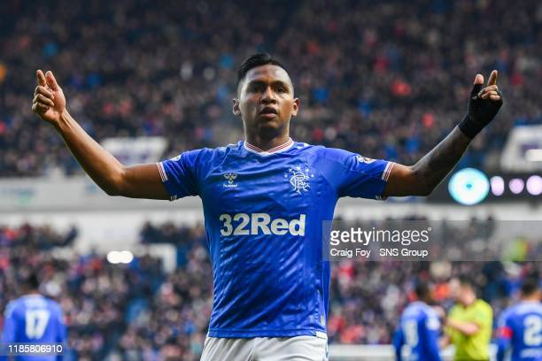 Rangers' Alfredo Morelos celebrates his goal to make it 1-0 during the Ladbrokes Premiership match between Rangers and Hearts at Ibrox Stadium, on...