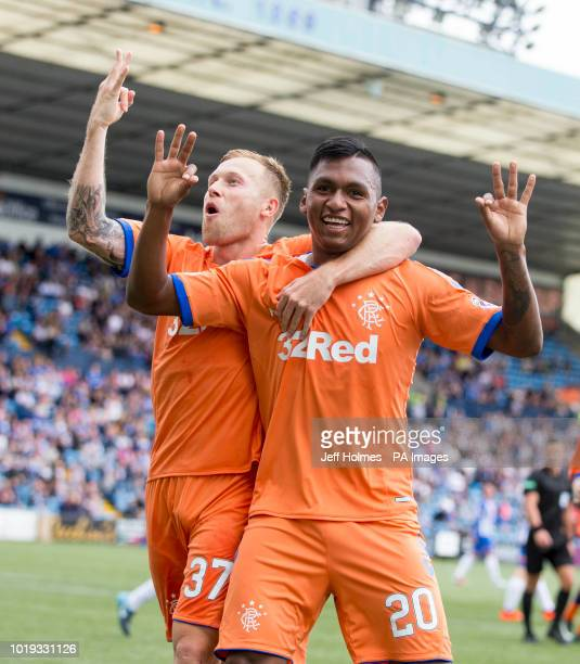 Rangers Alfredo Morelos celebrates scoring his side's first goal of the game with Scott Arfield during the Betfed Cup Second Round match at Rugby...