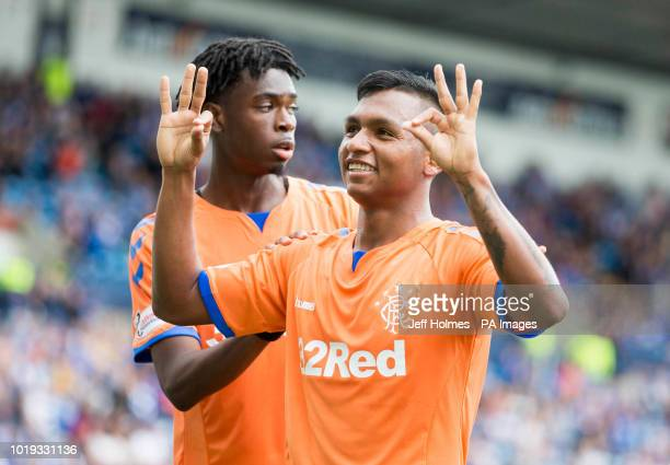 Rangers Alfredo Morelos celebrates scoring his side's first goal of the game during the Betfed Cup Second Round match at Rugby Park Kilmarnock