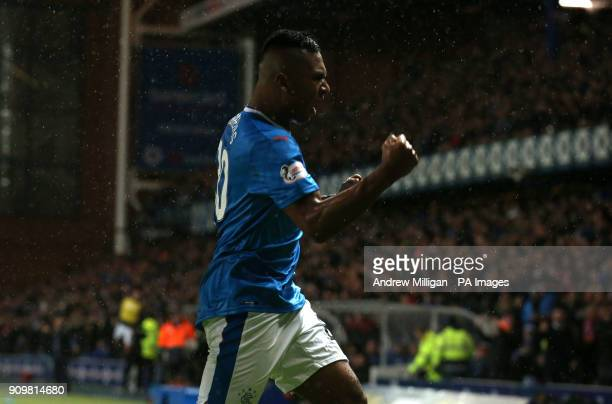 Rangers Alfredo Morelos celebrates scoring his side's first goal of the game during the Ladbrokes Premiership match at Ibrox Glasgow