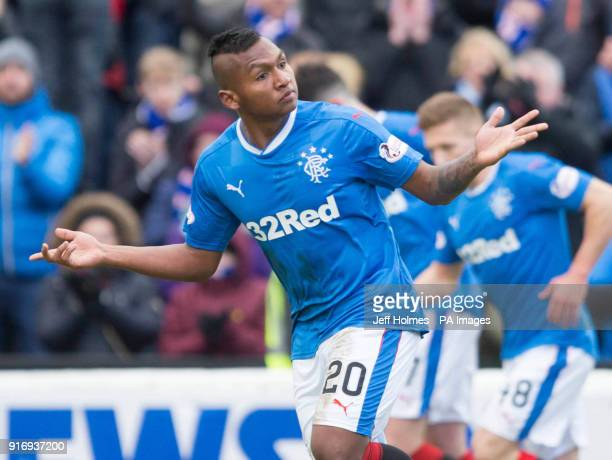 Rangers' Alfredo Morelos celebrates scoring his side's first goal of the game during the William Hill Scottish Cup fifth round match at Somerset Park...