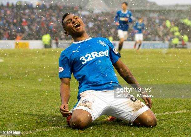 Rangers Alfredo Morelos celebrates scoring his side's fourth goal of the game during the William Hill Scottish Cup fifth round match at Somerset Park...
