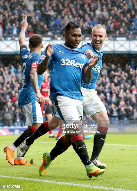 Rangers' Alfredo Morelos celebrates scoring his sides second goal during the Ladbrokes Scottish Premiership match at the Ibrox Stadium Glasgow