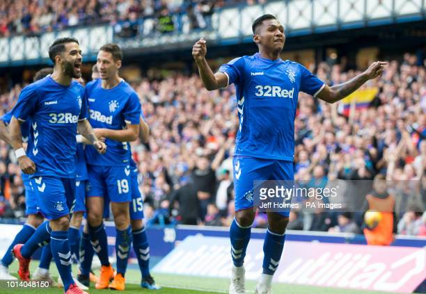 Rangers Alfredo Morelos celebrates scoring the opening goal during the UEFA Europa League third qualifying round first leg match at Ibrox Glasgow