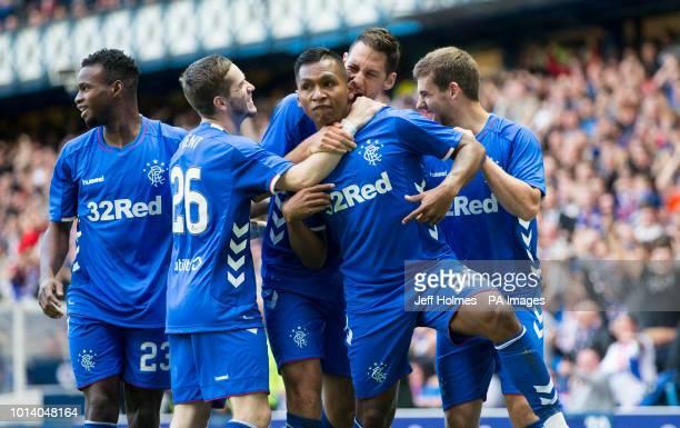 Rangers Alfredo Morelos celebrates scoring the opening goal during the UEFA Europa League third qualifying round first leg match at Ibrox Glasgow