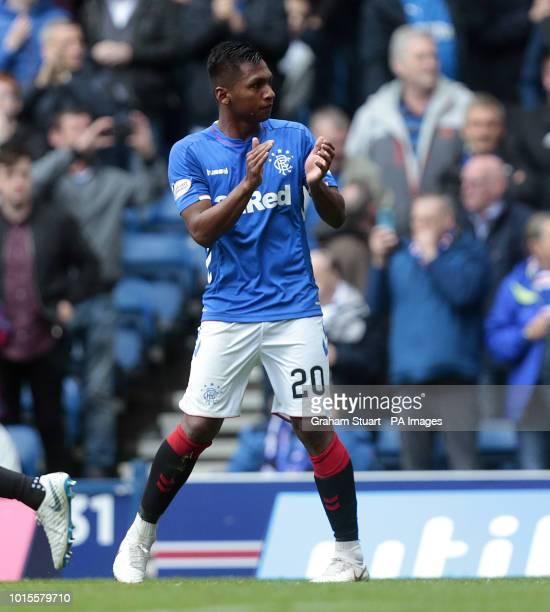 Rangers' Alfredo Morelos celebrates scoring their first goal against St Mirren during the Scottish Premiership match at Ibrox Glasgow
