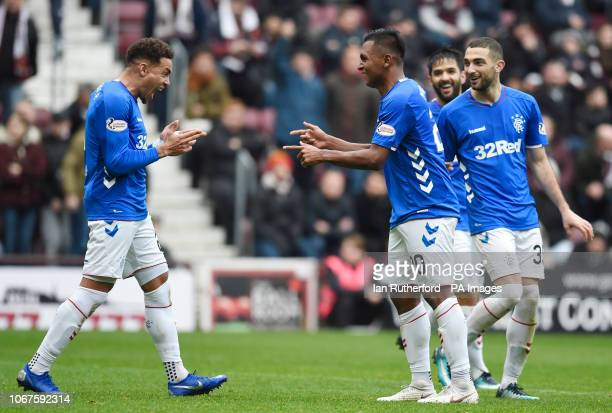 Rangers Alfredo Morelos celebrates with James Tavernier in front of the Hearts fans after scoring his sides second goal during the Ladbrokes Scottish...