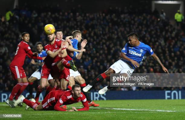 Rangers Alfredo Morelos heads at goal during the Ladbrokes Scottish Premiership match at Ibrox Stadium Glasgow