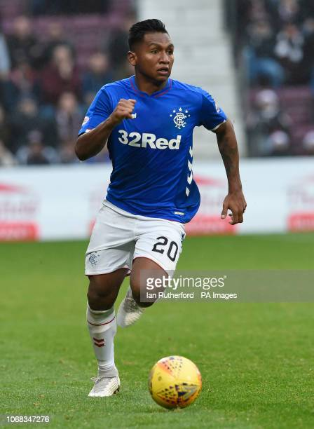 Rangers Alfredo Morelos in action during the Ladbrokes Scottish Premiership match at Tynecastle Stadium