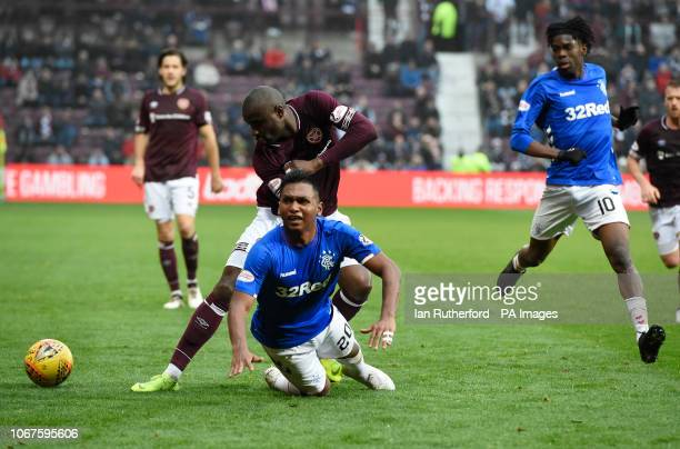 Rangers Alfredo Morelos is brought down by Hearts Clevid Dikamona during the Ladbrokes Scottish Premiership match at Tynecastle Stadium Edinburgh