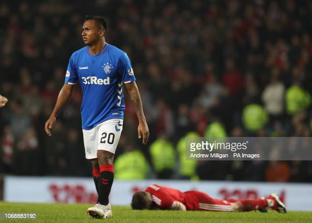 Rangers Alfredo Morelos is sent off after a challenge on Aberdeen's Graeme Shinnie during the Ladbrokes Scottish Premiership match at Ibrox Stadium...