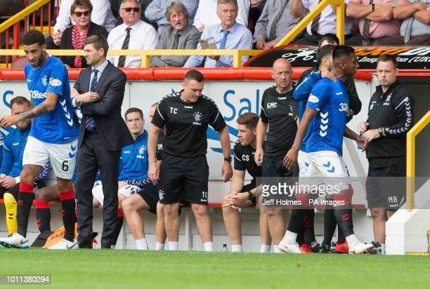 Rangers Alfredo Morelos is sent off as manager Steven Gerrard looks away during the Scottish Ladbrokes Premiership match at Pittodrie Stadium Aberdeen