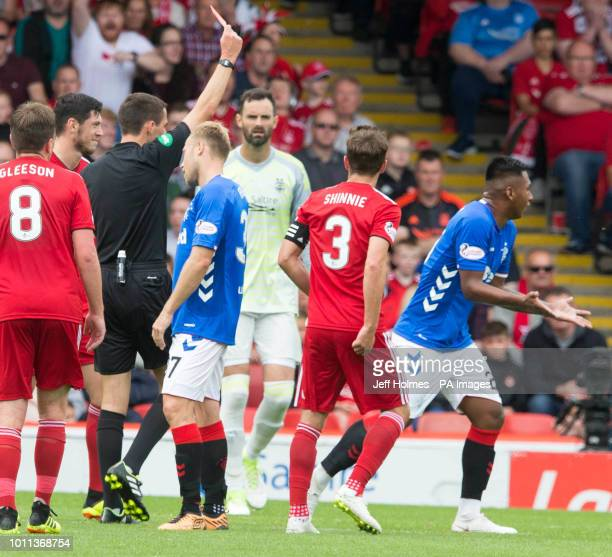 Rangers Alfredo Morelos is shown a red card during the Scottish Ladbrokes Premiership match at Pittodrie Stadium Aberdeen