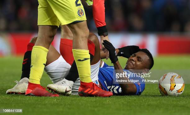 Rangers' Alfredo Morelos lays on the ground during the UEFA Europa League Group G match at Ibrox Stadium Glasgow